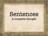 Complete Sentences: What Makes a Sentence?