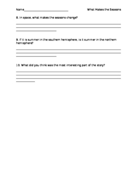 What Makes the Seasons Change comprehension questions