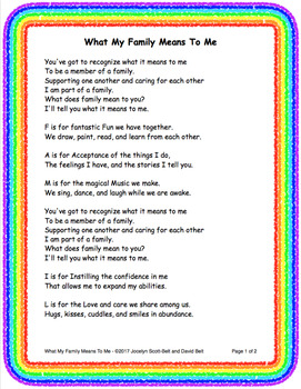 What My Family Means To Me Song By Knowledge Gators Tpt