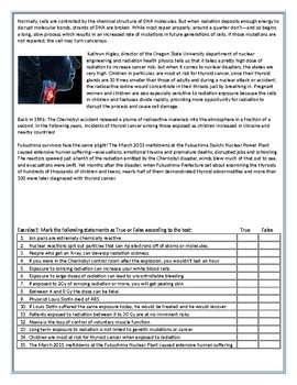 What Nuclear Radiation Does To Your Body - Reading Comprehension Worksheet