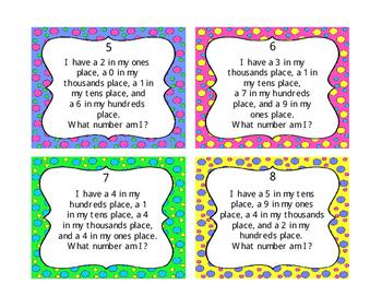 What Number Am I  Place Value Task Cards, Center Activity, Scavenger Hunt, Scoot