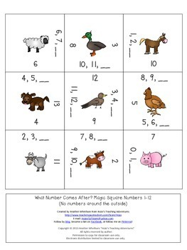 Numbers 1-24: What Number Comes After? Math Center Game