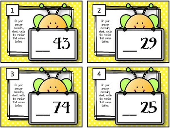 What Number Comes BEFORE? Task Cards. Number Order.