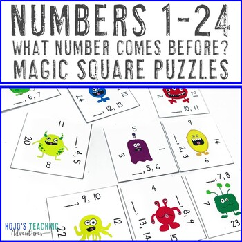 Numbers 1-24: What Number Comes Before? Math Center Game