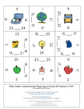 Numbers 0-25 Math Center Game: What Number Comes Between?
