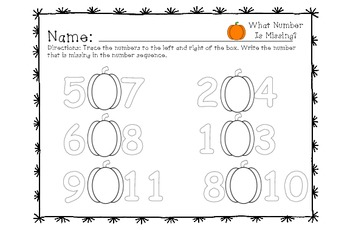What Number is Missing? (Pumpkin Theme)