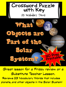 What Objects Are In The Solar System Review Crossword Puzzle and Key