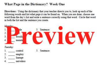 What Page In the Dictionary Daily Bell Ringer Activities
