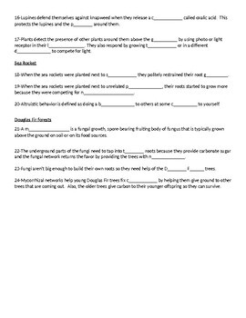 What Plants Talk About Video Worksheet (Easy-fill in)