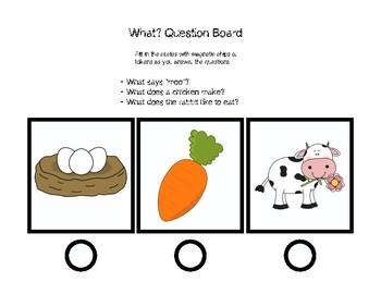 What? Questions Board Receptive: Dot Reinforcement