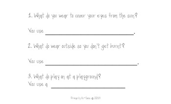 What Questions Speech Practice Task Summer Edition (File Folder)