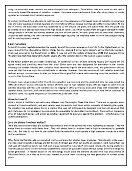 What Really Happened at Fukushima? - Reading Comprehension Worksheet