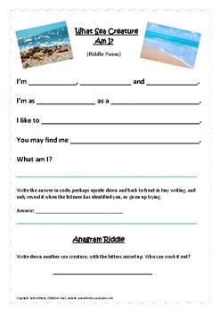 What Sea Creature Am I? Riddle poem frame for descriptive writing