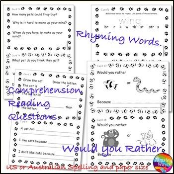 What Should I Get for a Pet? Literature Book Unit Task Cards & Would You Rather?