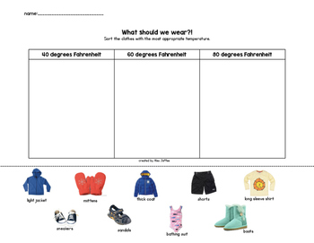 What Should We Wear? Sorting Clothing by Temperature