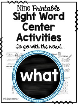 What: Sight Word Activities