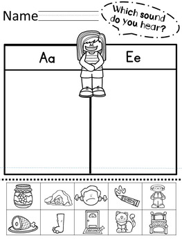 CVC Word Middle Vowel Sound Sort What Sound Do You Hear?