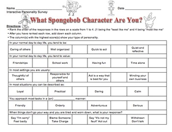 What Spongebob Character Are You? Interactive Personality Survey