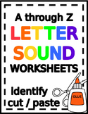 What Starts With... Beginning Sound Letter Cut & Paste Printable Worksheets