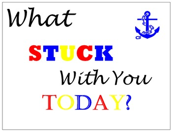 What Stuck With You Today? Nautical Theme / Red, White, Blue & Yellow / Anchor