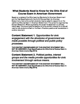What Students Need to Know for the Ohio End of Course Exam in U.S. Government