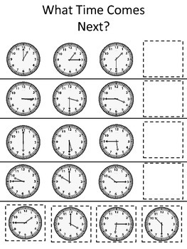 What Time Comes Next preschool learning game.  Learning how to tell time activit
