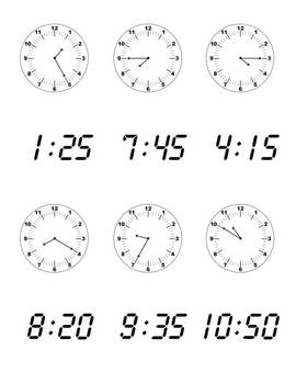 What Time Is It? A Telling Time Matching Game