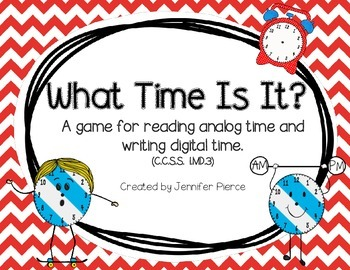 What Time Is It?  A math game to practice telling time to the hour.