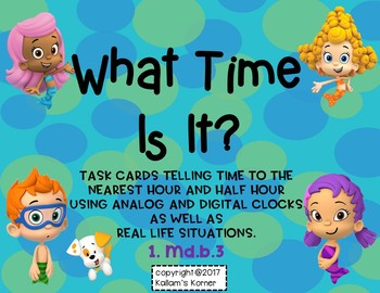 What Time Is It?  Telling Time to the Hour and Half Hour-Bubble Guppies Themed