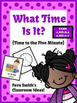 Valentine's Day Math Center Games Telling Time to the Five Minute