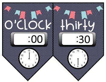 What Time Is It? Telling Time to the Hour and Half Hour- Pink and Blue Themed