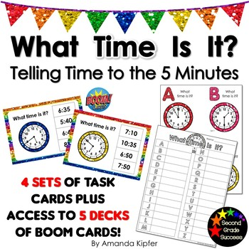 What Time Is It? Task Cards and Boom Cards telling time to the five minutes