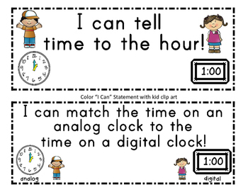 Time to the Hour ~ What Time Is It? Match Game/Worksheets
