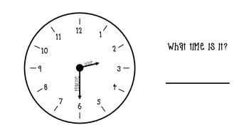 What Time Is It? Time Telling Worksheets to the HALF HOUR! Easy