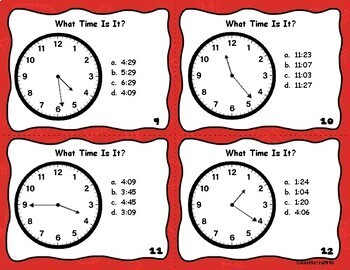What Time Is It? To The Minute Task Cards