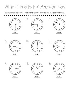 What Time Is It? worksheet - rounding to the nearest 5 min