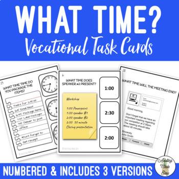 What Time? Vocational Scenarios Task Cards Digital & Analog Clock