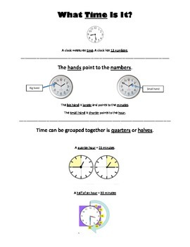 What Time is It? Visual Aid for teaching elements of time.