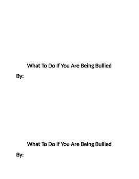What To Do If You Are Being Bullied Book Activity