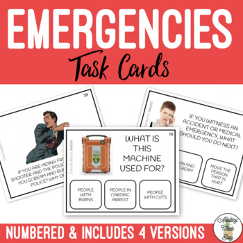 What To Do In An EMERGENCY Task Clip Cards - Safety