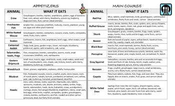 Types of Consumers Application Nonfiction Literacy Activity- Roadkill Cafe Menu