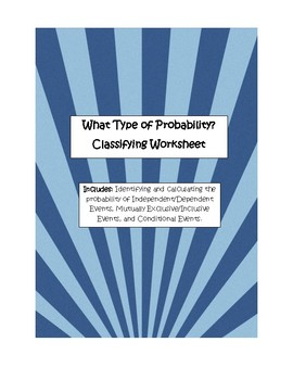 What Type of Probability? - Classifying Worksheets