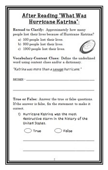 What Was Hurricane Katrina? (Robin Koontz) Book Study / Comprehension  (29 pgs)