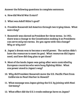 What Was Pearl Harbor? Book Unit