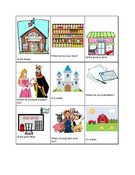 What? Where? - Vocabulary Identification Cards