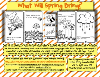 What Will Spring Bring?  Early reader about Spring, & Voc cards!