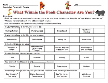 What Winnie the Pooh Character Are You? Interactive Personality Survey