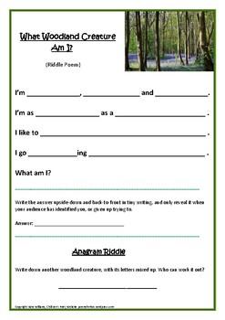 What Woodland Creature Am I? Riddle poem frame for descriptive writing.