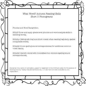 Autumn What Word Short U Phonograms Reading Activity Black White Print No Prep