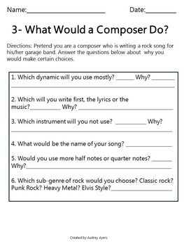What Would A Composer Do? Composer Worksheets